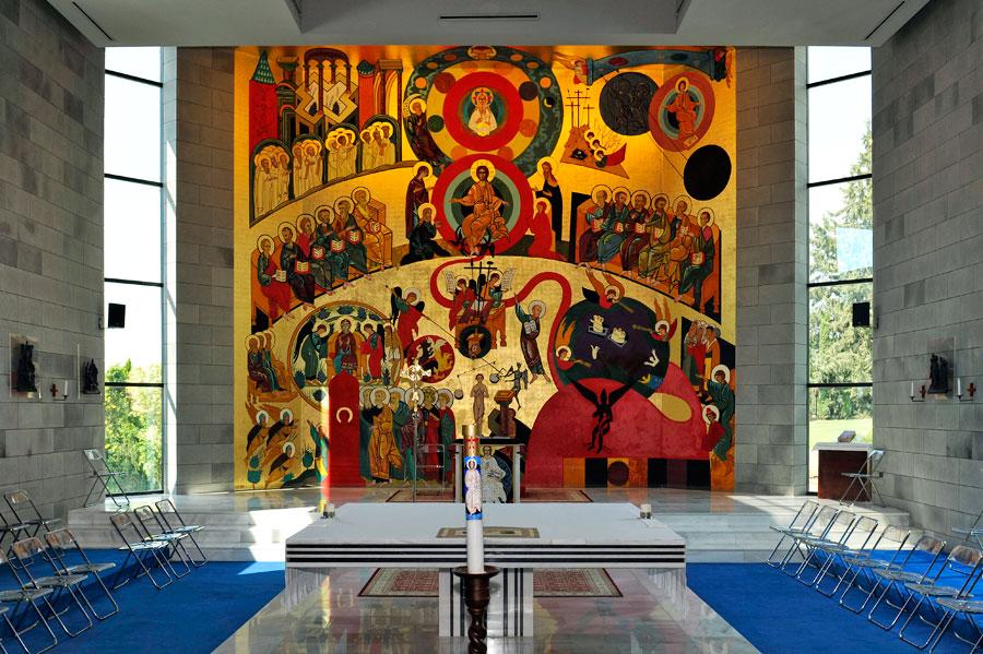 Gemälde des Gründers in der Kirche Domus Galilaeae. (© Matthias Hinrichsen)