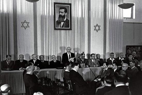 David Ben Gurion verkündet die Gründung des israelischen Staates. Foto: Rudi Wissenstein