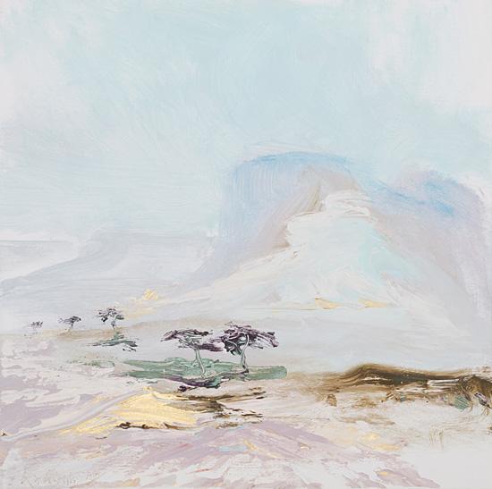 """Die Malerin Sabine Kahane zeigt 99 """"Bilder der Wüste"""" in Stendal. (© Winkelmann-Gesellschaft)"""