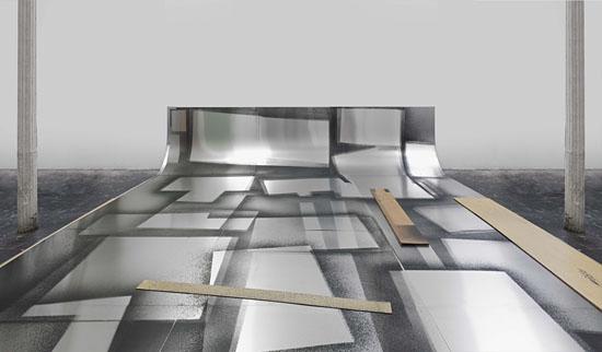 """""""Aluminum Sweep"""", 2010: Acryl-Farbe auf Aluminum gesprüht und Plexiglas auf Boden und an der Wand, 600 x 480 cm, aus der Sammlung des Künstlers. (© Israel Museum Jerusalem)"""