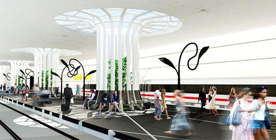 So könnte der Tel Aviver Bahnhof unterhalb der Erdoberfläche aussehen, wenn er gebaut würde. (Entwurf: Yitzhar Galmidi)