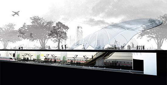 Der Querschnitt zeigt das oberirdische Eingangsportal mit seiner oppulenten Dachkonstruktion, darunter die Bahnsteigebene. (Entwurf: Yitzhar Galmidi)