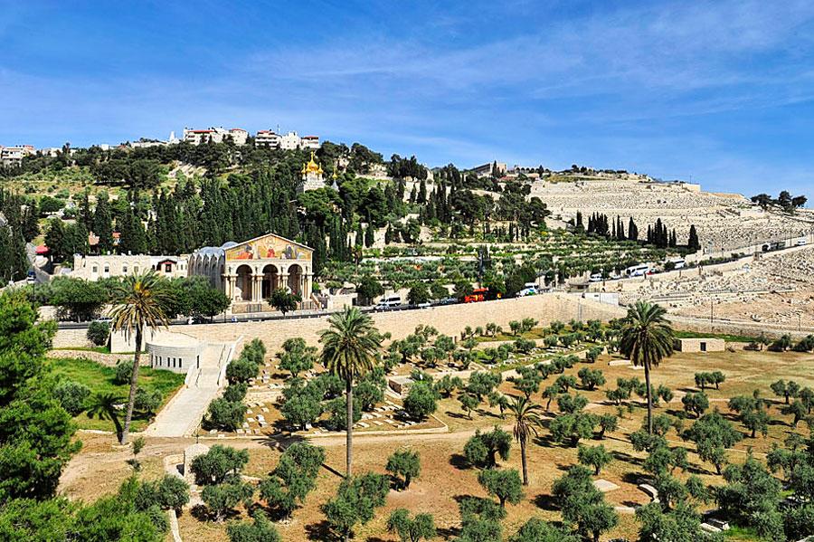 Ölberg in Jerusalem, links der Garten Gethsemane.