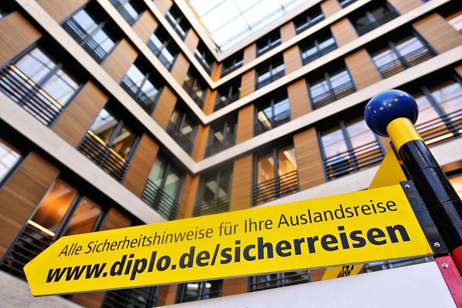 Das Auswärtige Amt in Berlin ist für Reise- und Sicherheitshinweise zuständig. (© Matthias Hinrichsen)