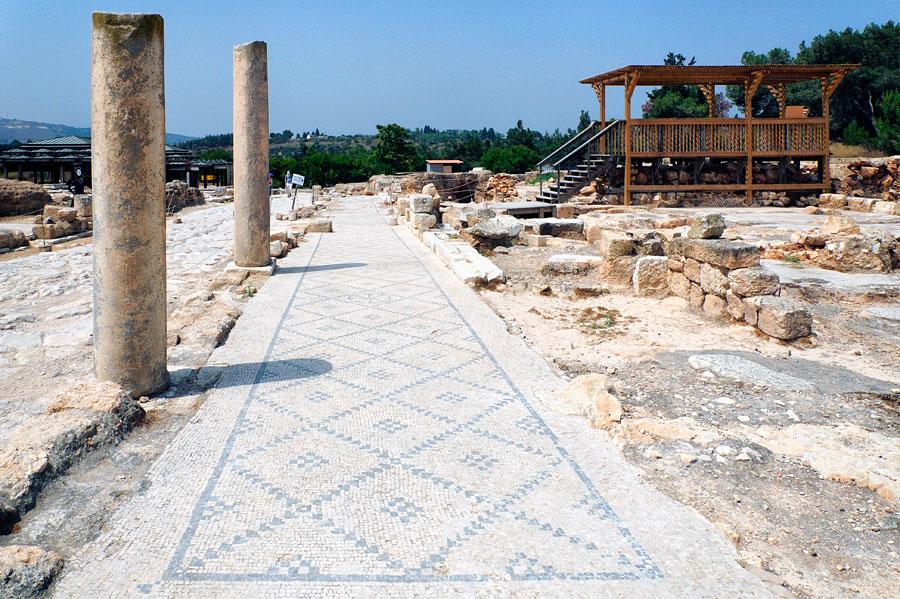 Dutzende der detailreichen Mosaike aus der römischen Periode sind im antiken Sepphoris freigelegt. (© Matthias Hinrichsen)