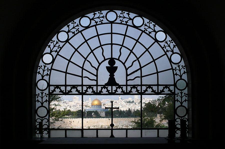 Ausblick von der Kapelle Dominus Flevit auf Jerusalem. (© Matthias Hinrichsen)