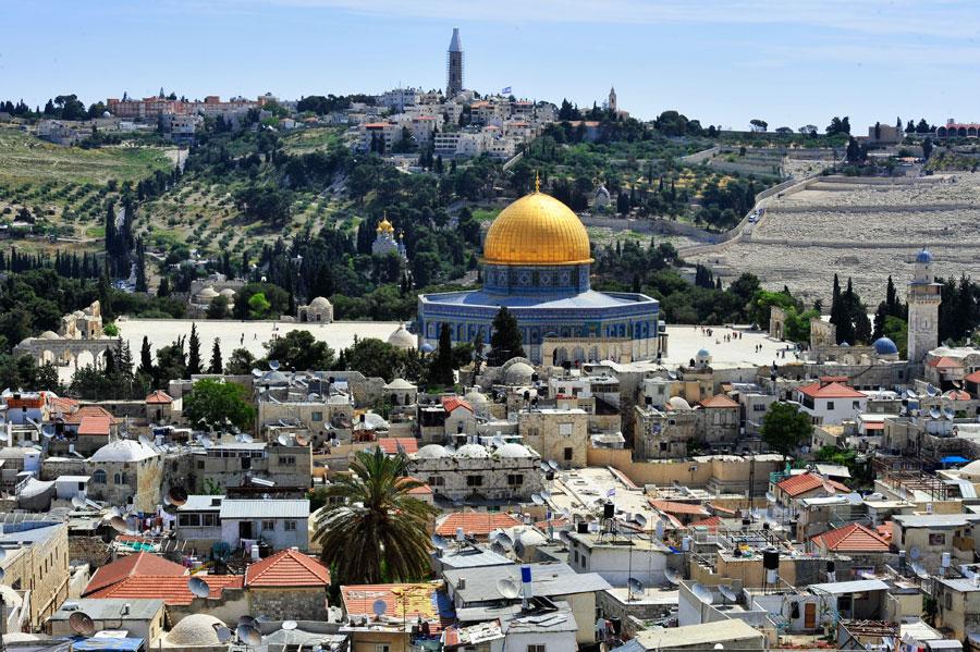 Der Tempelberg in Jerusalem von der Altstadt aus gesehen. (© Matthias Hinrichsen)