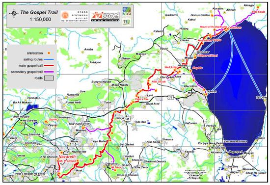 """Auf der Karte des """"Gospel Trail"""" im Maßstab 1:150.000 ist die Ähnlichkeit der Wegführung zu erkennen; zudem sind Anfangs- und Endpunkt identisch. (© Gospel Trail)"""