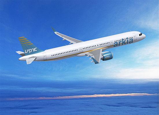 So wird der neue Arkia-Airbus A321neo aussehen. (© Airbus S.A.S 2012)