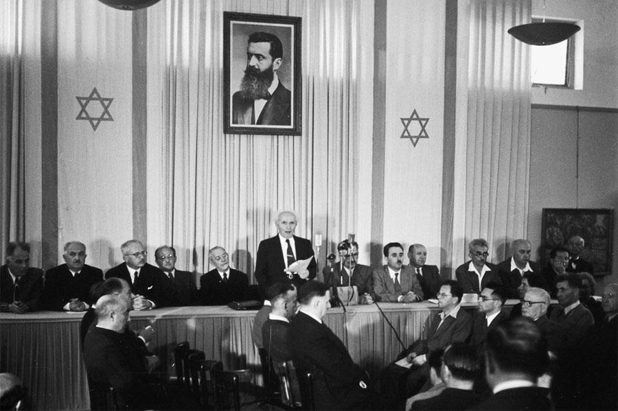Der wichtigste Tag in der Geschichte des Staates Israel: die Proklamation am 14. Mai 1948 durch David Ben Gurion. (© GPO)