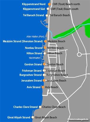 Die Strandabschnitte von Tel Aviv. (© www.israelmagazin.de)