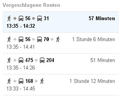 Gleich mehrere Routen werden vorgeschlagen, wie es auch bei Verbindungen mit dem Auto oder zu Fuß ist. (© Google/Bearbeitung www.israelmagazin.de