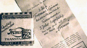 """""""Fromms Act"""" war das erste Marken-Kondom der Welt, und schon 1919 wurden  jeden Tag 150.000 Stück produziert, der Dreierpack zu 72 Pfennig. (© Fromms FF)"""