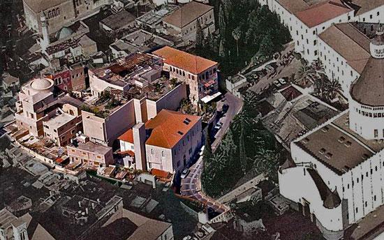 Das Marienzentrum in Nazareth von oben, gleich daneben die Verkündigungsbasilika. (© Communauté du Chemin Neuf)