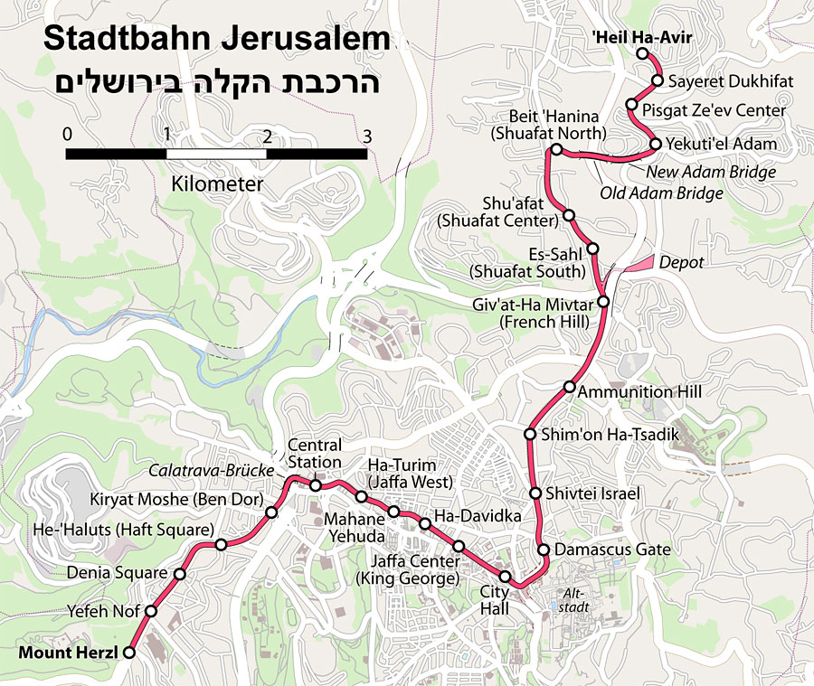 Streckenplan der Straßenbahn Light Rail Train in Jerusalem. (© Maximilian Dörrbecker/Wikipedia CC BY-SA 2.0)