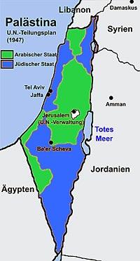 UN-Teilungsplan für das britische Mandat Palästina aus dem Jahr 1947. (Wikipedia gemeinfrei, Modifikation Ayin leZion)