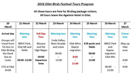 Programm  Eilat Birds Festival Frühjahr 2016.