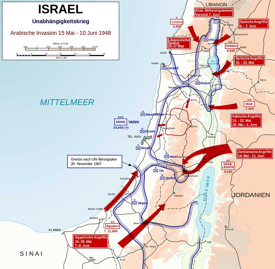 Arabische Offensiven im israelischen Unabhängigkeitskrieg gegen Israel (15. Mai bis 10. Juni 1948). (CCO gemeinfrei)
