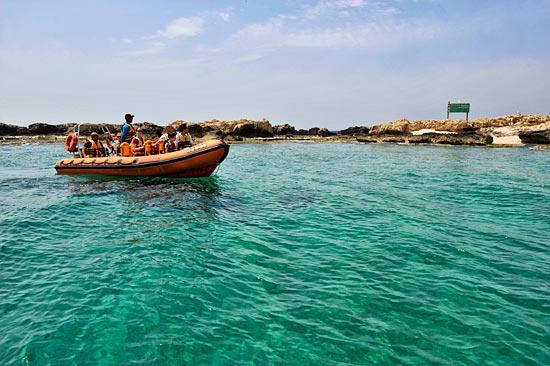 Das ist nur mit dem Boot möglich - eine vorgelagerte Vogelinsel aus der Ferne besichtigen. (© Matthias Hinrichsen)