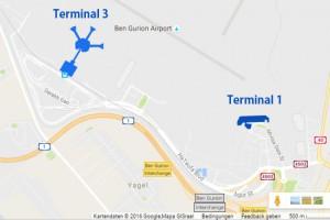 Terminal 1 des Ben Gurion Airport wird ab Sommer 2017 für Abflüge der Billig-Airlines dienen. (Karte © Google Maps)