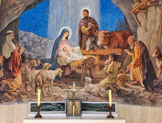 Bethlehem, Hirtenfelder, Kapelle, Wandgemälde. (© Matthias Hinrichsen)