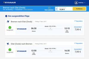 Ryanair bietet den absoluten Preishammer nach Israel an. (Website Ryanair)