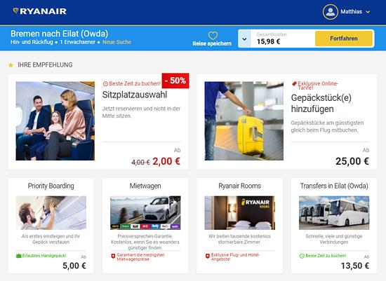 Zusatzmöglichkeiten bei Ryanair.