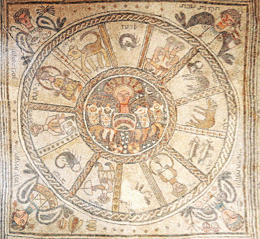 Das zentrale Mosaik in Bet Alpha. (© Matthias Hinrichsen)