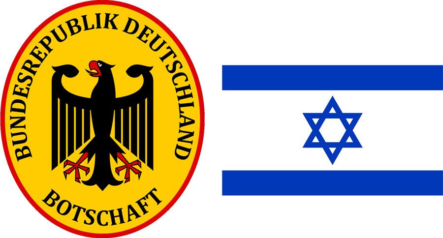 Signet der Deutschen Botschaft mit Staatsflagge Israel.