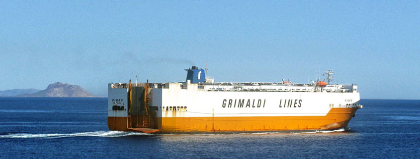 "Grimaldi Frachter. (© Tilemahos Efthimiadis/flick """"Fides"", Grimaldi Lines"" CC BY-SA 2.0)"