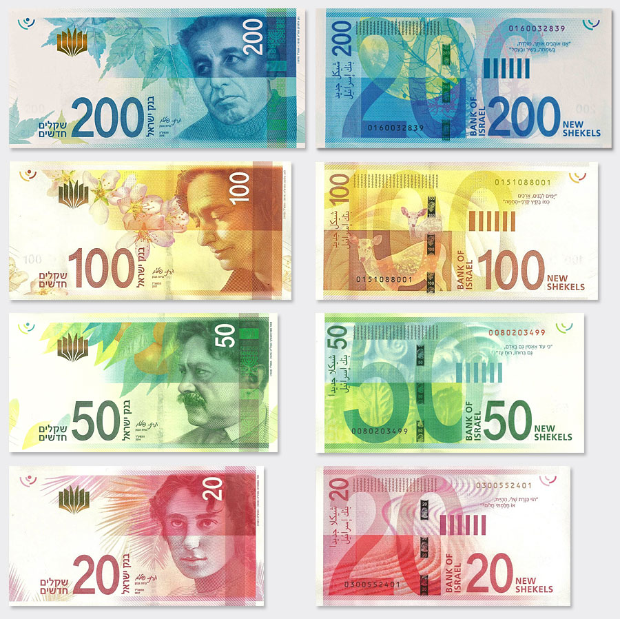 Aktuelle Banknoten Israels. (Abbildungen Banknoten Bank of Israel ייהליזיושמר/Matan2001/Wikipedia - gemeinfrei)