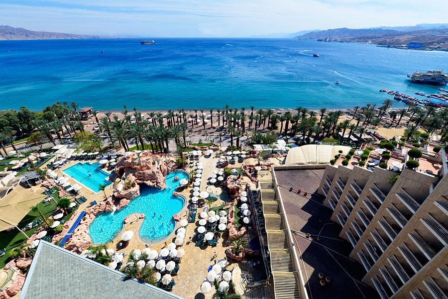 Blick vom Hotel in Eilat auf den Golf von Aquaba. (© Matthias Hinrichsen)