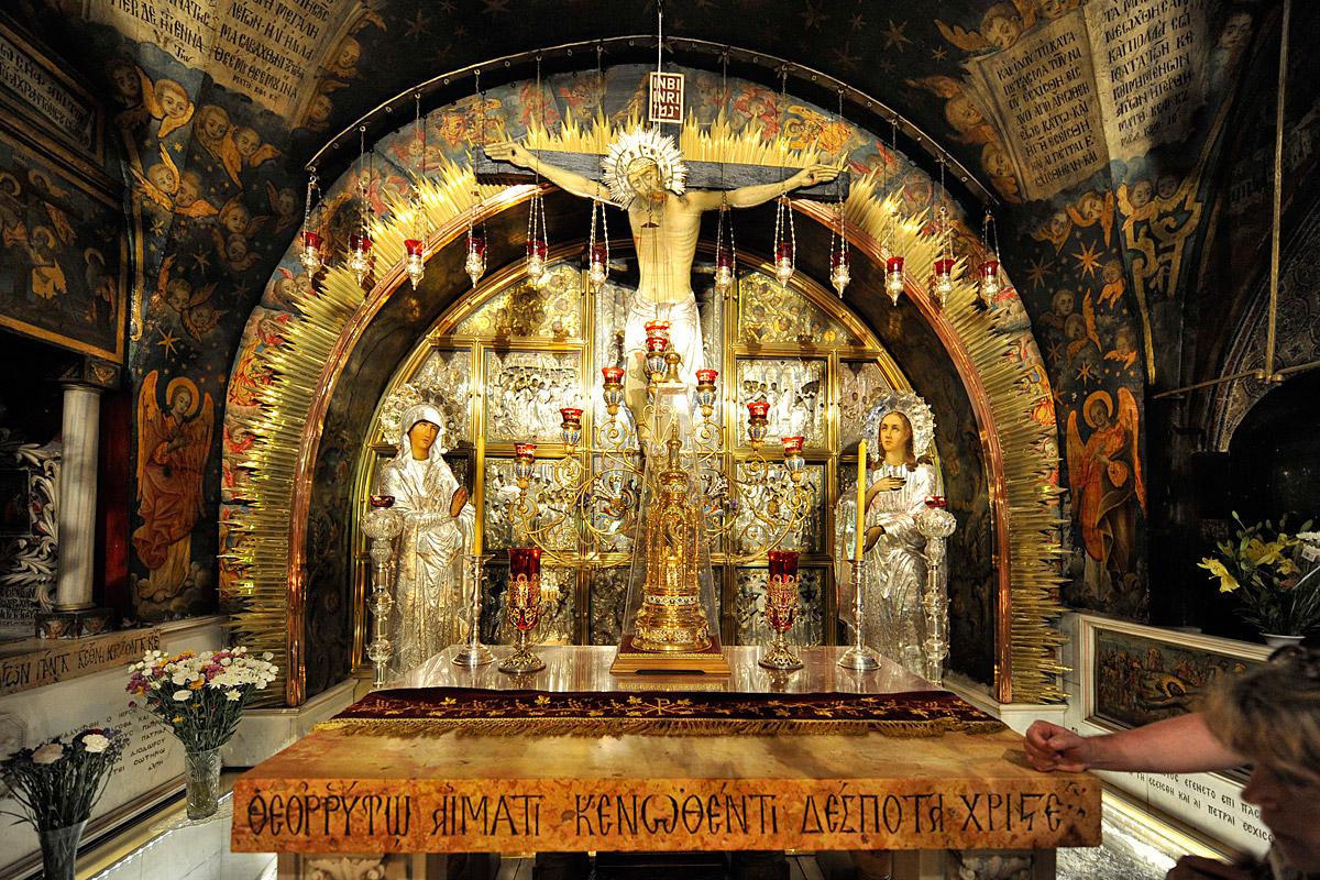 Kreuzannagelungsaltar in der Grabeskirche in Jerusalem