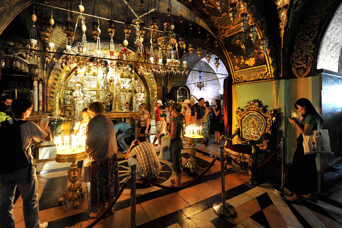 Felsen Golgatha Grabeskirche Jerusalem.