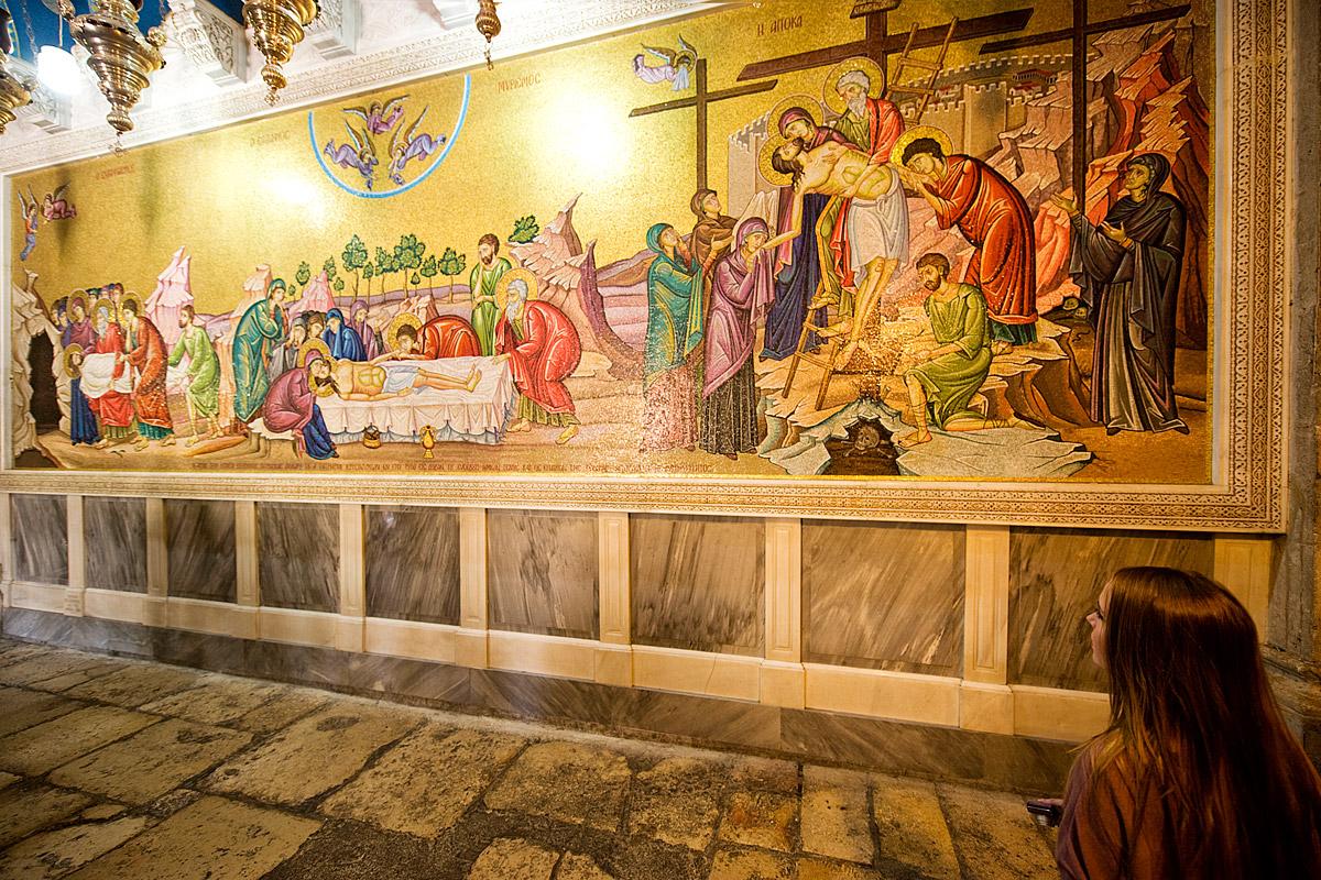 """Mosaik """"Kreuzigung Jesu"""" in der Grabeskirche Jerusalem."""