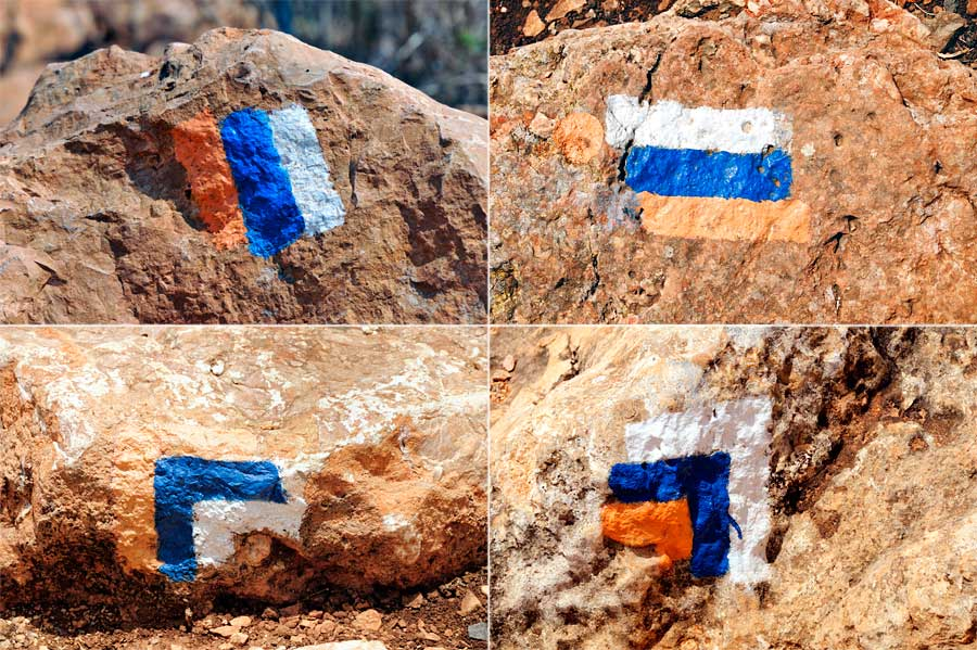 Wegemarkierung des Israel National Trail, kurz INT. (© Matthias Hinrichsen)
