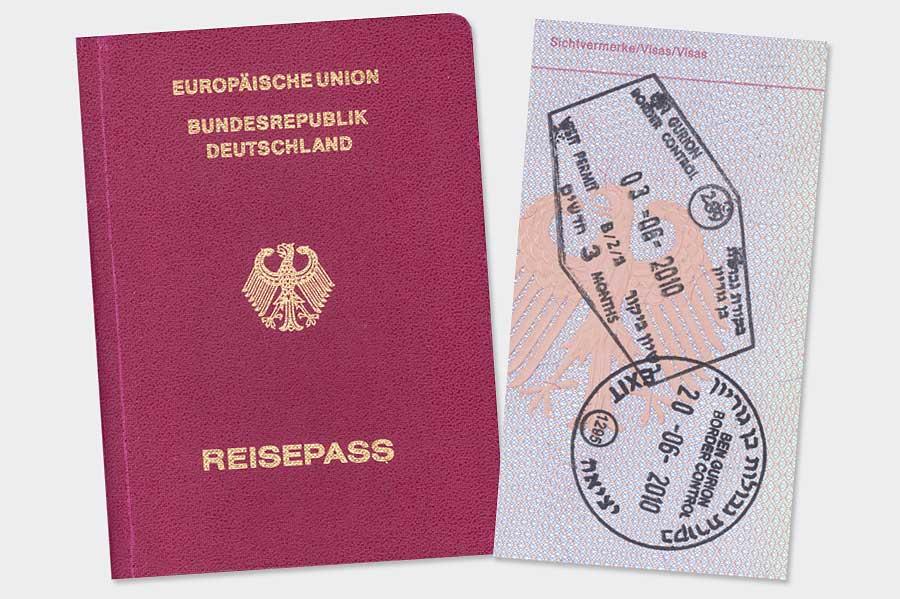 Stempel bei Einreise und Ausreise nach Israel bis 2012. (© Matthias Hinrichsen)