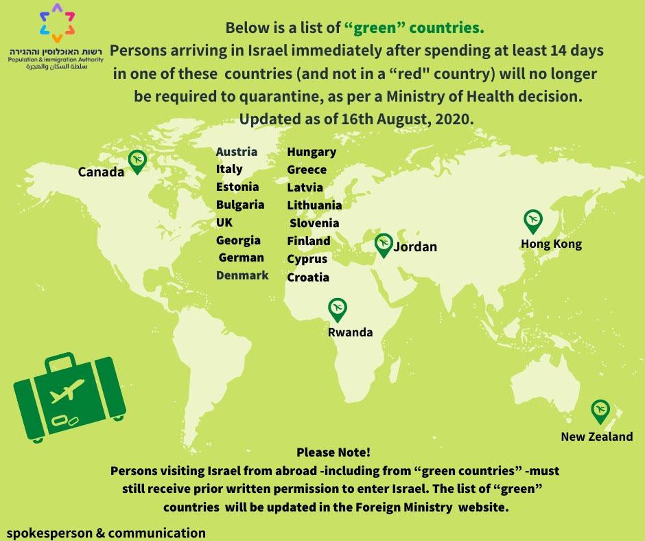 """Karte des israelischen Gesundheitsministeriums """"Grüne Länder"""" für Einreise nach Israel."""