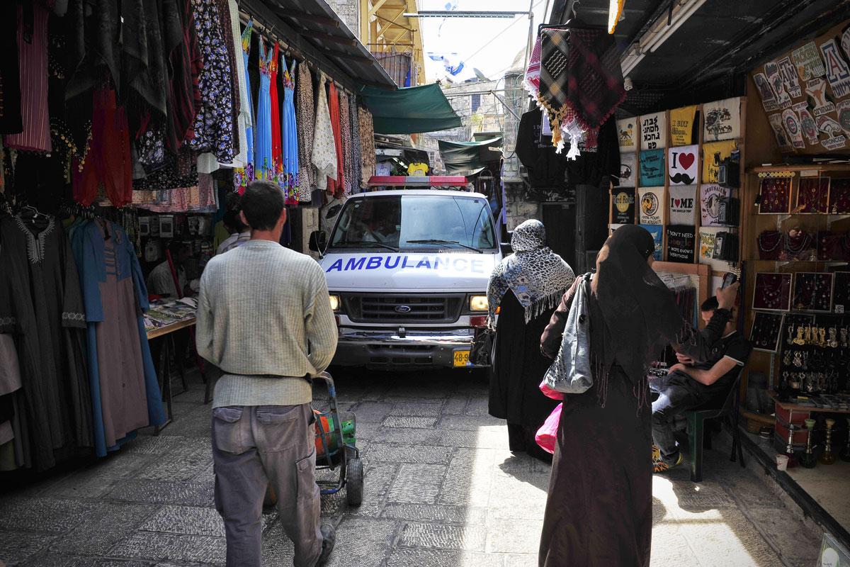 Krankenwagen in der Jerusalemer Altstadt