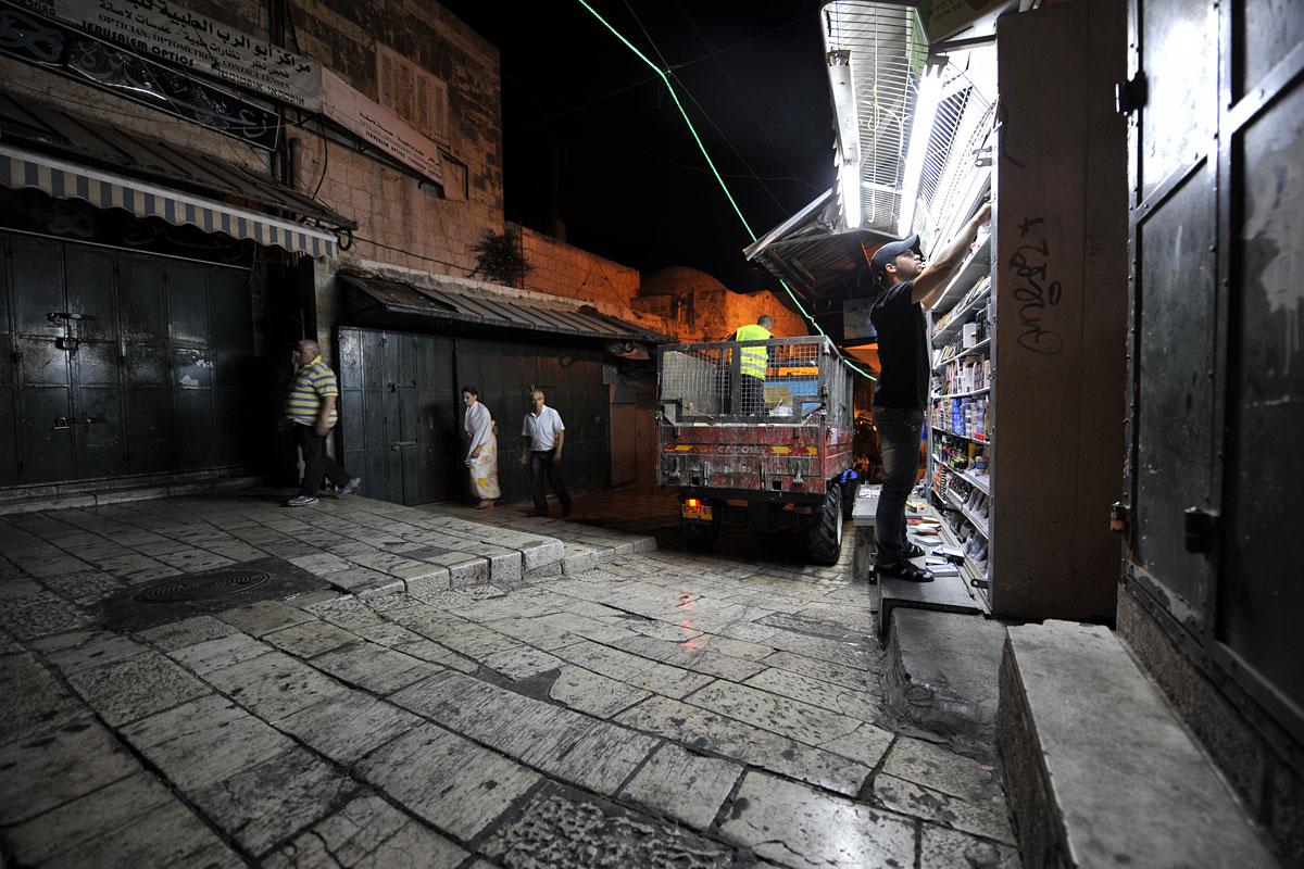 Muslimische Altstadt Jerusalem abends