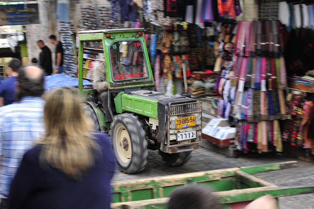 Traktoren in der Altstadt Jerusalem