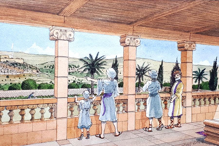 Illustration, wie das historische Gebäude ursprünglich ausgesehen haben könnte.