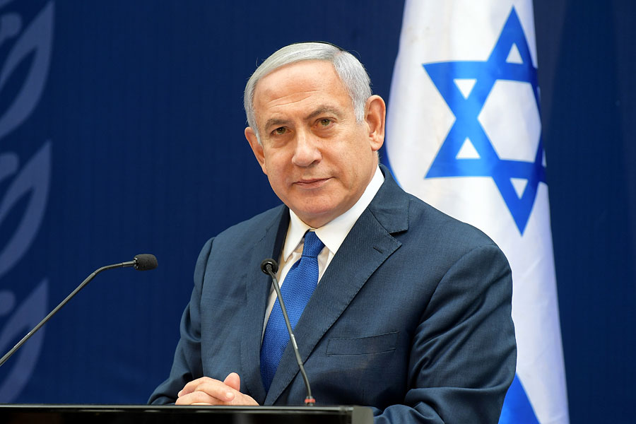 Ministerpräsident Netanyahu richtet Rede an Bevölkerung.