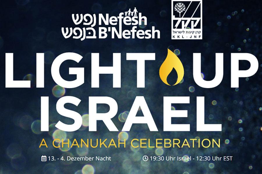 """Online-Auftritt von """"Light Up Israel"""" mit Chanukka-Feier."""