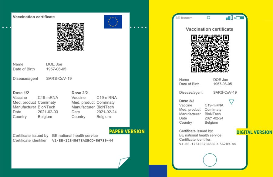 Grüner Pass der EU: links in Papierform, rechts digital.