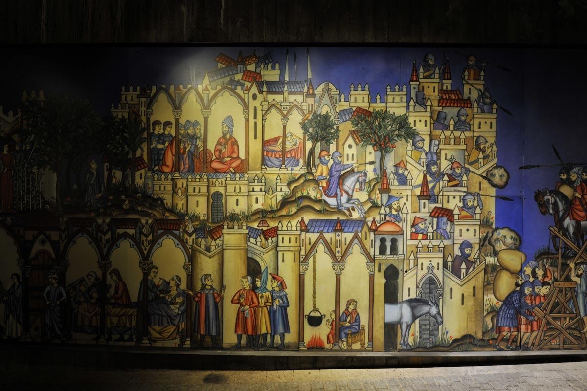 Gemälde aus dem Mittelalter stellen das Leben in der Hospitalerfestung dar