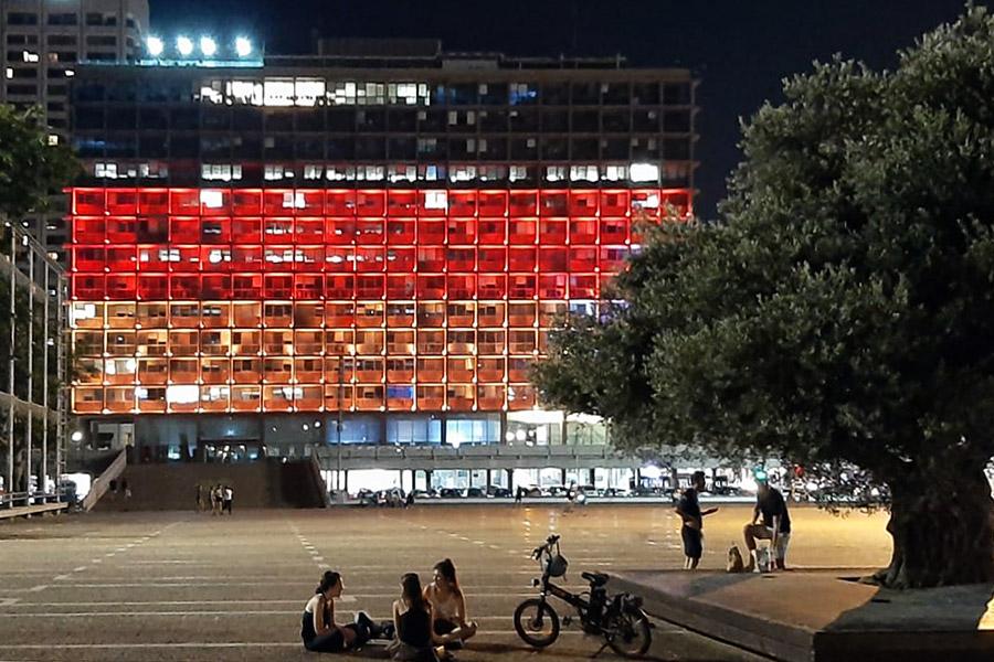 Das Rathaus in Tel Aviv wurde in deutschen Farben beleuchtet.