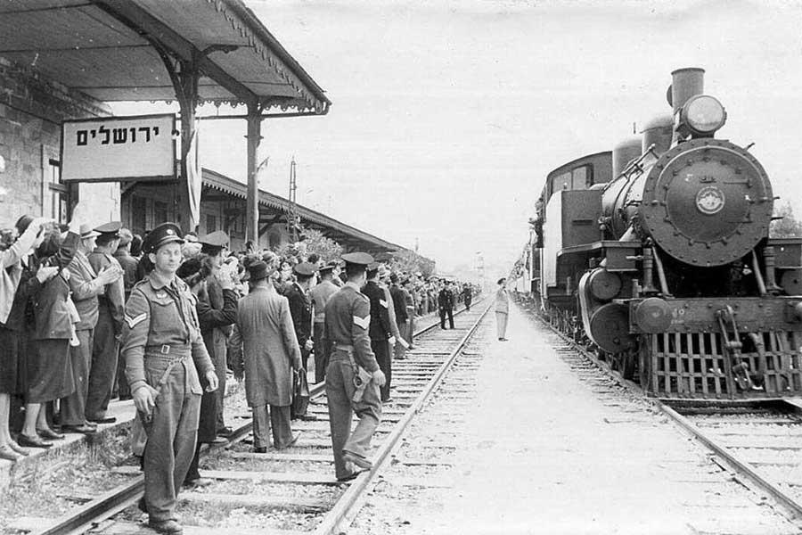 Ankunft des ersten Zuge im Bahnhof Jerusalem am 26. September 1892.