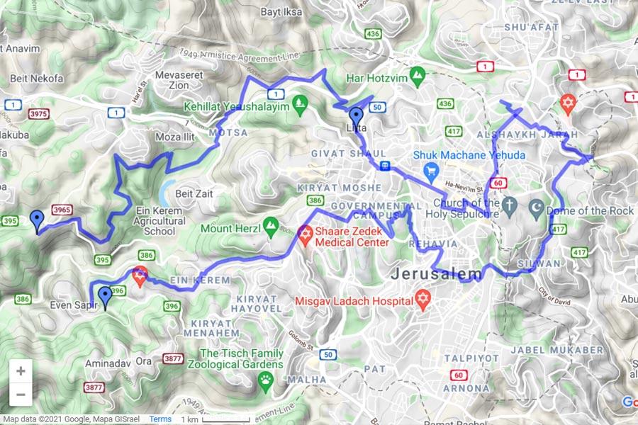 Jerusalem Trail auf Google Maps